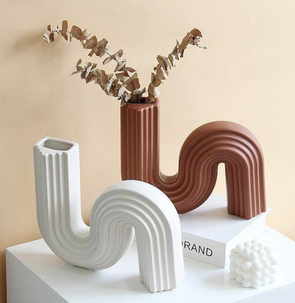 curved vase decor minimalist etsy small business vase christmas
